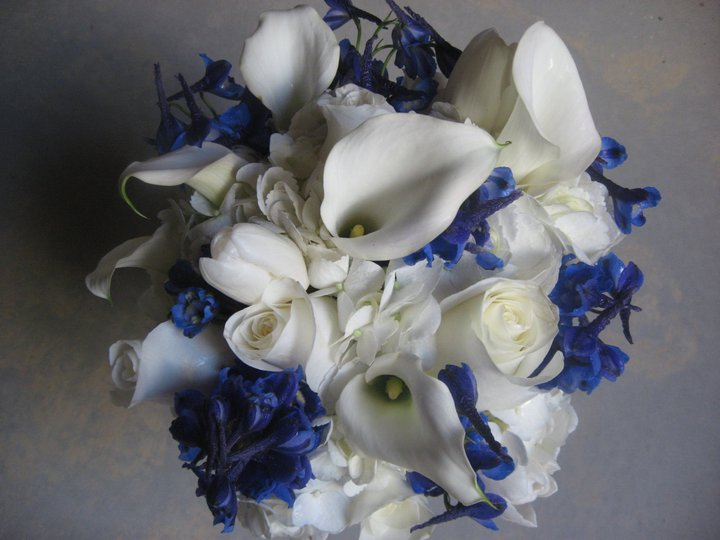 Blue and White Wedding Bouquet - Colorado Destination Weddings